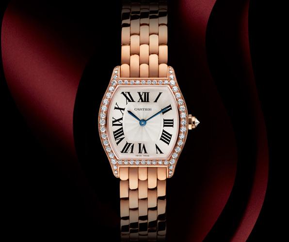 Cartier Tortue Señoras Oro Rosa Replica Reloj Pequeño